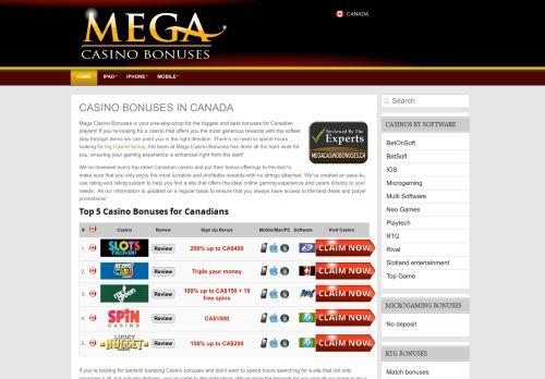 Mega Casino Bonuses Canada