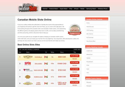 Canadian Online Mobile Slots